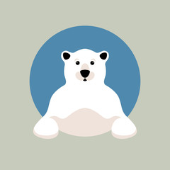 polar bear head vector illustration style Flat