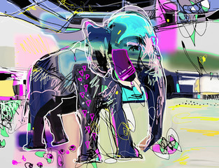 Poster Graffiti abstract memphis digital painting of indian elephant