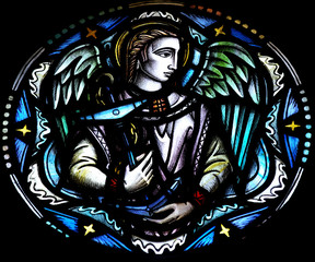 Fototapete - Angel holding an anchor (stained glass)