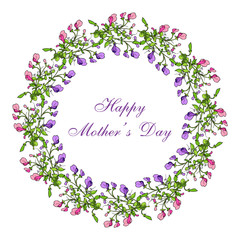 Mother day greeting card, sweet pea wreath
