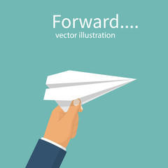 White paper airplane holding in businessman's hand. Forward to goal concept. Vector illustration flat design. Isolated on background. Creative imagination. Motivation is a business metaphor. Decision