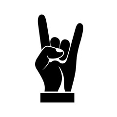 Hand gesture silhouette, symbol Rock and Roll. Black icon isolated on white background. Vector illustration flat design.