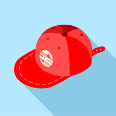 Red baseball cap icon, flat style