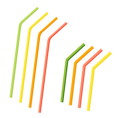 Straws set for drinks, cocktail straws. Colored straws. Flat design. Abstract concept. Vector illustration.