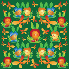 Funny eggs in colorful hats.Template. Design for textile, wrapping paper, packaging. Composition for processing farm products.