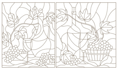 The illustrations in the stained glass style with still life , grapes, wine and crockery, dark outline on a white background