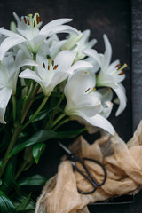 Bouquet of lilies. Mothers day concept