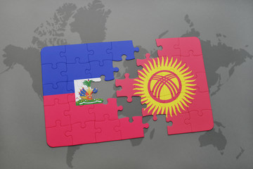 puzzle with the national flag of haiti and kyrgyzstan on a world map
