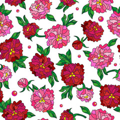 Seamless pattern with spring flowers in stained glass style, flowers, buds and leaves of  peonies on a light background