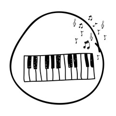 monochrome hand drawing of piano keyboard in circle and musical notes vector illustration