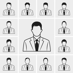 out line business man icons vector set