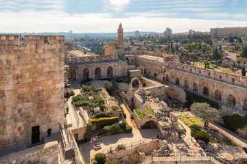 Aerial view to ancient Jerusalem Citadel and theTower of David, near the Jaffa Gate in Old City of Jerusalem, Israel.