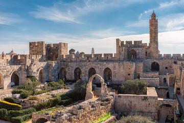 The Tower of David in ancient Jerusalem Citadel, near the Jaffa Gate in Old City of Jerusalem, Israel. Fototapete