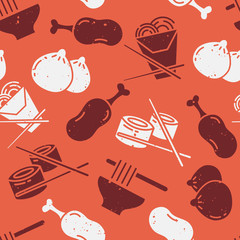 Pattern with asian food