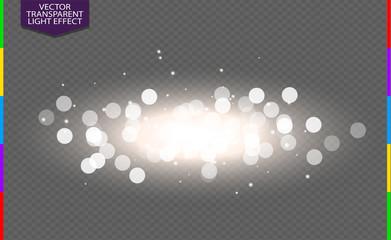 Wall Mural - Abstract white bokeh light effect explosion sparks modern design. Glow star burst blur defocused. Sparkles light vector transparent background. Christmas Concept. Flicker magic effect.