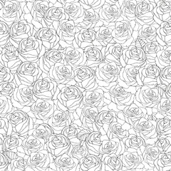 Seamless Pattern for coloring book with roses.