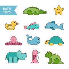 Set of baby bath toys in the bathroom drawn in cartoon flat style