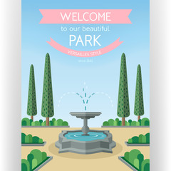 Welcome to park poster template. Abstract idyllic landscape with streaming fountain and arranged trees.