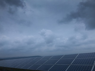 Solar panels modules and blue sky