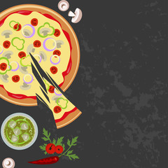 Pizza with glass of soda on the wooden background. Top view Vector illustration eps 10