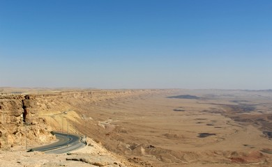 Mizpe Ramon lookout to Big Crater in the Desert of Negev, Israel