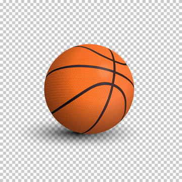 Vector realistic basketball ball isolated on transparent background.