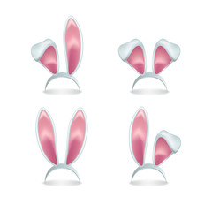 Set of vector pink rabbit ears isolated on white background.