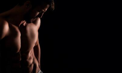 Attractive muscular man posing