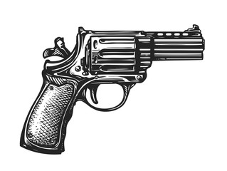 Hand drawn revolver gun. Firearm, pistol sketch. Vintage vector illustration