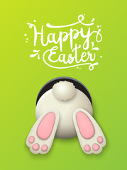 Easter motive, bunny bottom on green background, illustration