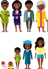 All age group of african american people.Generations woman. 