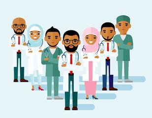 Set of  arab medical people, muslim doctor.   Vector illustration diversity practitioner, physician, nurse.