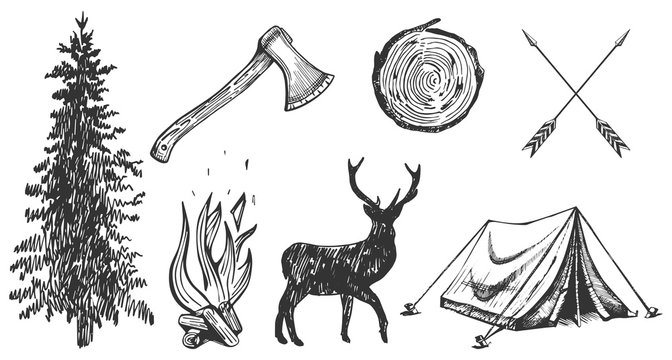 Camping hand drawn stickers set