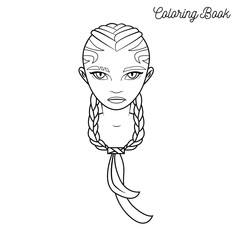 Coloring book with cartoon girl with braided hair and cat eyes