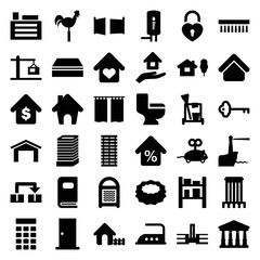 Set of 36 house filled icons