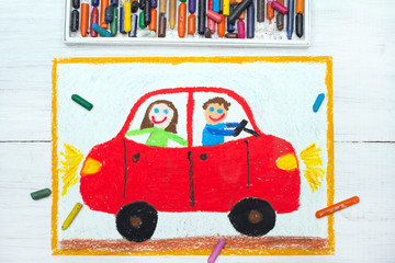 colorful drawing: happy couple in the red car