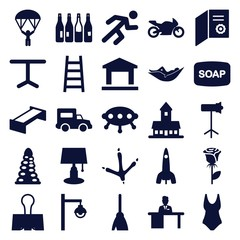 Set of 25 silhouette filled icons