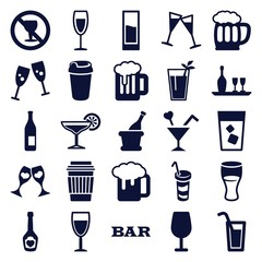 Set of 25 alcohol filled icons