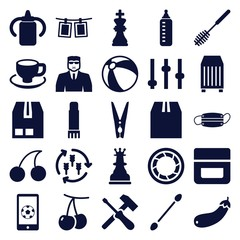 Set of 25 closeup filled icons