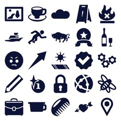 Set of 25 sign filled icons