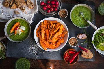 Vegan detox variety food table. Vegetarian, dieting, healhty, fitness dinner table.