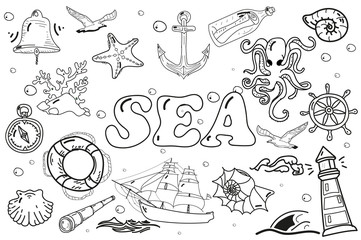 black white drawing. Doodle. vector set of elements of the sea.