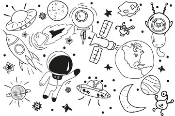 black white drawing. Doodle. vector set of space elements.
