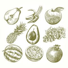 Set of hand drawn fruits isolated on white background. Pear, banana, apple, pineapple, avocado, grapes, watermelon, orange, pomegranate sketch elements. Retro hand-drawn vector illustration.