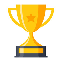 Trophy cup, award, vector illustration in flat style
