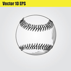 Ball for baseballl hand drawn sketch  isolated on white background. Sport item elemenets vector illustration