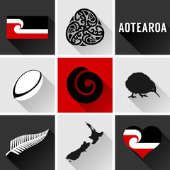 Aotearoa Flat Icon Set. Vector graphic icons and images representing Aotearoa, the Maori name for New Zealand.