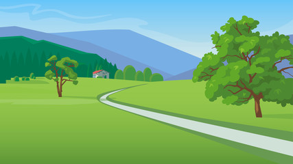 Summer landscape with mountains,  road and a small house vector illustration