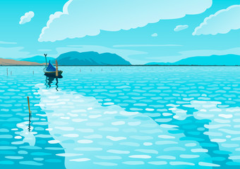 Poster Turquoise Sea landscape with a fishing boat vector illustration