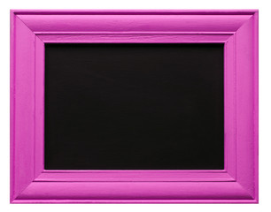 Pink picture frame with blackboard inner, isolated on white background.
